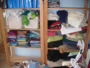 These were the shelves where most of my fabric was stored.