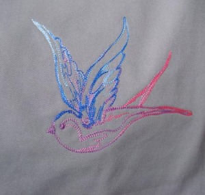 Rainbow swallow embroidery