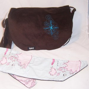 Kat's map themed Onbag Zippy-with-a-flap
